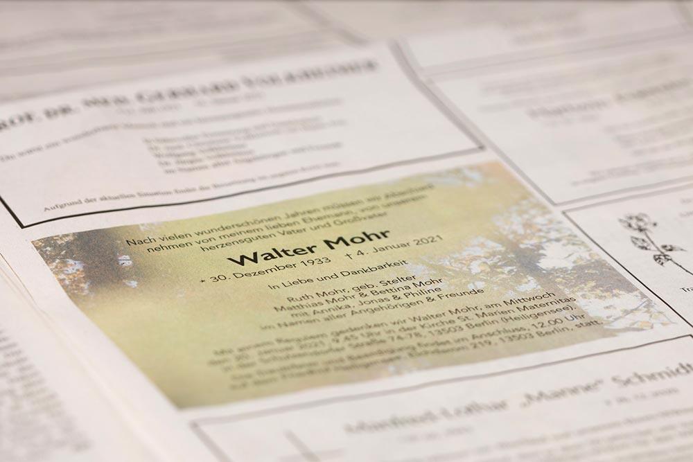 Januar Bestattungen organisiert die Beerdigung, gestaltet Anzeigen für Kondolenz in Zeitungen und übernimmt den Trauerkartendruck.