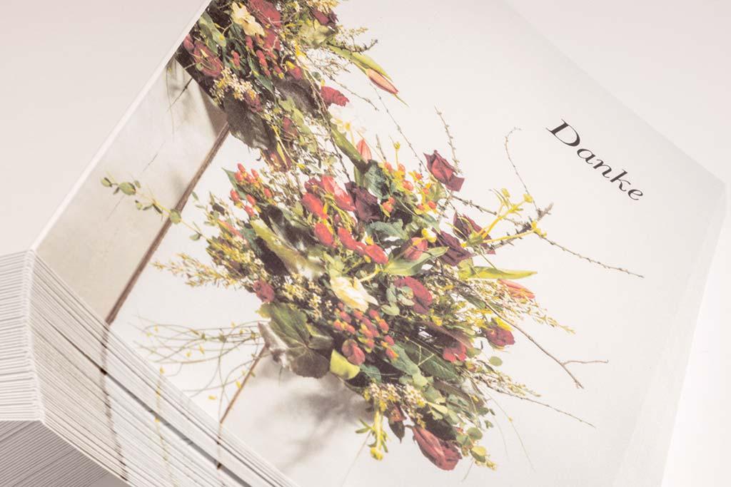 Dankeskarte-Trauer, Gestaltung, Satz und Herstellung, Trauerkartendruck auf Papier unterschiedlicher Grammatur.
